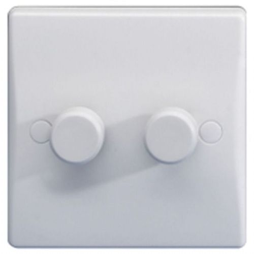 2 Gang 2 Way 250W Push Dimmer Switch, GET Ultimate White Moulded GU6022